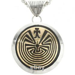 Native Navajo Hopi Style Sterling Silver Gold Man Dans Le Collier Pendentif Maze