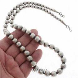 Navajo Antiqued Sterling Silver Desert Pearl Necklace 24 Gradué 6-12mm Perles
