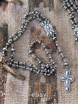 Navajo Argent Sterling Collier De Chapelet De Perles À La Main Signé
