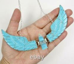 Navajo Ben Livingston A Sculpté Turquoise Énorme XL Pendentif Eagle Collier Sterling