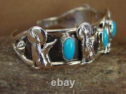 Navajo Bijoux Indien Sterling Argent Turquoise Wolf Bracelet Par L'ours Coureur