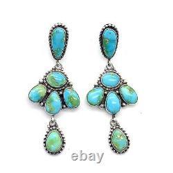 Navajo Boucles D'oreilles En Argent Sterling En Argent Doré Turquoise De Marque Navajo Eleanor Largo