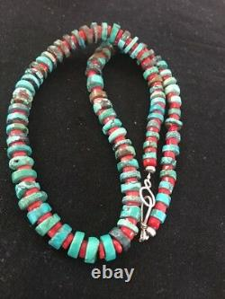 Navajo Hommes Native American Sterling Silver Heishi Turquoise Collier De Corail 8506