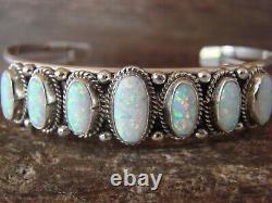 Navajo Indien Sterling Argent Blanc Opal Row Bracelet