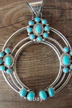 Navajo Indien Sterling Argent Turquoise Naja Pendentif