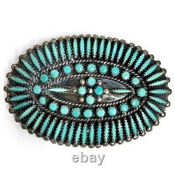 Navajo Jason Yazzie Sterling Silver Turquoise Needlepoint Ceinture Concho Ovale