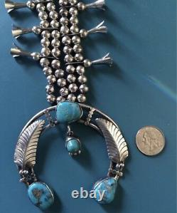 Navajo Native American Indian Turquoise Sterling Silver Squash Collier Blossom