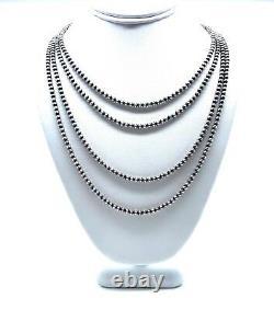 Navajo Pearls Argent Sterling. Collier De Perles De 925 4mm