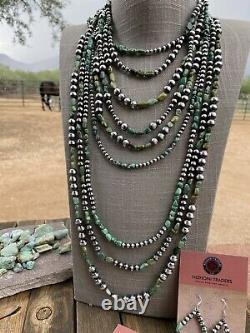 Navajo Royston Turquoise Sterling Silver Navajo Perle Collier Perlé 20 Pouces