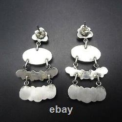 Navajo Silver Sterling Turquoise Cluster Dangle Pierced Eerings Renelle Perry