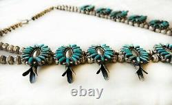 Navajo Squash Blossom Turquoise & Sterling Collier Argent Wilford Begay