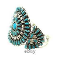 Navajo Stabiliser Turquoise Cluster Sterling Argent Cuff Bracelet Par Violet Begay