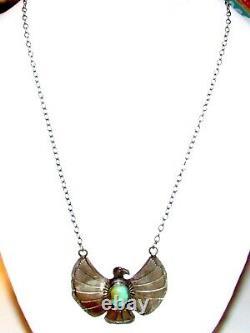 Navajo Thunderbird Bar Collier Sterling Silver Kingman Turquoise Native Signé