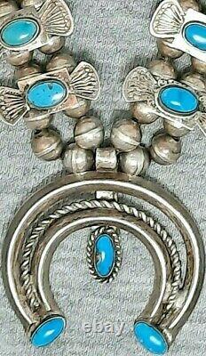 Navajo Turquoise Box & Bow Squash Blosom Collier Petit Sud-ouest