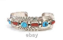 Navajo Turquoise Red Coral Row Sterling Silver Cuff Bracelet Estampé