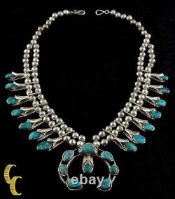Navajo Turquoise & Sterling Silver Squash Collier Blossom