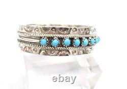 Navajo Turquoise Sterling Silver Stacker Bracelet De Menottes Estampillé