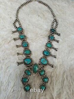Navajo Vintage Vieux Pawn Sterling Turquoise Squash Blossom Collier- Superbe