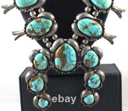 Old Natural Royston Turquoise Squash Blossom Necklace, Old Pawn C1960s, Huge