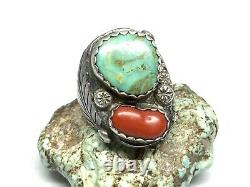 Old Pawn Navajo Native Sterling Silver Turquoise Coral Énorme Mens Ring (sz. 12)