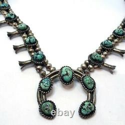 Old Pawn Navajo Sterling Silver Squash Blosom Collier 27,5 Turquoise W2c1