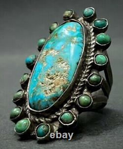 Old Vintage 1930s Navajo Native American Sterling Silver Turquoise Cluster Ring