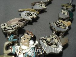 Opulent Vintage Navajo Zuni Turquoise Sterling Silver Squash Collier Blossom