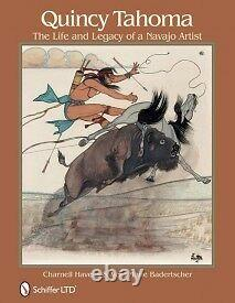 Peinture Originale & Cadre Artiste Amérindien Quincy Tahoma Indian Art 1949