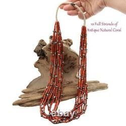 Perles Antiques De Corail (1) Collier Strand Trading Post Navajo Natural Undyed Lot