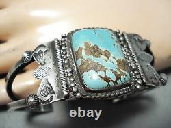 Premier Vintage Navajo 8 Turquoise Sterling Bracelet En Argent