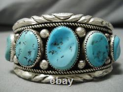Qualité Vintage Navajo Naturel Turquoise Sterling Bracelet Natif En Argent