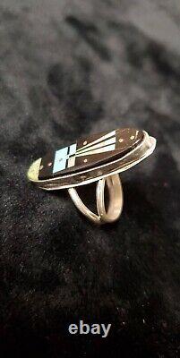 R528 Native American Navajo Handmade Sky Inlay Sterling Silver Ring Sz 6 -smith