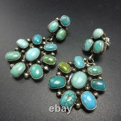 Radiant Eleanor Largo Navajo Argent Sterling Turquoise Cluster Earrings Piercé