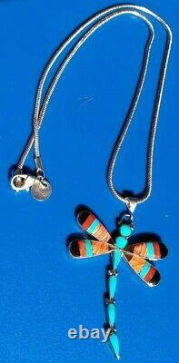 Rare Argent Sterling Zuni Oyster Spiney Turquiose Collier Dragonfly Sgn Ahiyite