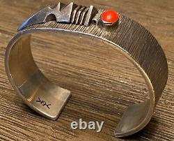 Rare Navajo Norbert Peshlakai Sterling Silver & Red Coral Cuff Bracelet Doit Voir