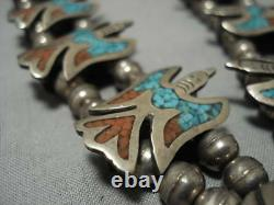 Rare Vintage Navajo Turquoise Coral Sterling Argent Squash Collier Blossom