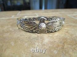 Real Fine Old Fred Harvey Era Navajo Bracelet En Argent Sterling Thunderbird