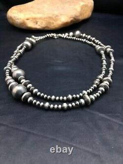 Sale Gift 36in Long Navajo Pearls Native American Sterling Silver Collier 3099