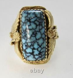 Signé Jag Navajo 14k Or Jaune Spiderweb Turquoise Anneau Vintage Fait Main