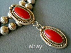 Southwestern Native American Navajo Coral Collier De Perles D'argent Sterling