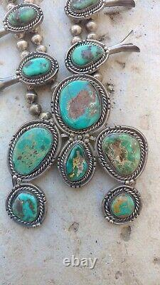 Southwestern Navajo Royston Turquoise Sterling Silver Squash Blossom Collier
