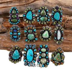 Squash Blossom Collier Turquoise Native American Jewelry Lot Sterling Bracelet
