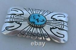 Tommy Singer Navajo Concho Belt Bucckle Argent Sterling Turquoise Nos Thomas