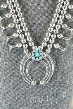 Turquoise & Sterling Silver Squash Blossom & Boucles D'oreilles Leon Kirlie