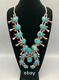 Un Collier De Squash De Turquoise Et De Coral Brillant Et Ancien