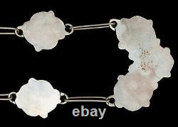 Vieille Fleur Mère De Pearl Turquoise Sterling Silver Collier Navajo