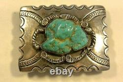 Vieux Navajo Concho Belt Backle Avecextra Grand Blue Turquoise & Grand Estampage
