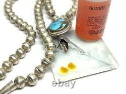 Vieux Pawn Navajo Sterling Silver Turquoise Squash Blossom Banc Collier De Perles