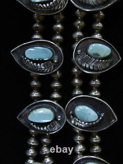 Vieux Vieux Pawn Navajo Argent Turquoise Squash Collier De Squash Sans Marque