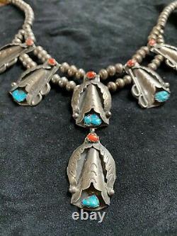 Vieux Vieux Pawn Navajo Corail Argent Et Turquoise Squash Collier Blossom